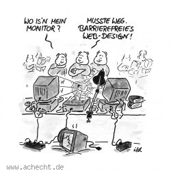 Cartoon: Barrierefreies Webdesign - Computer, Rechner, IT, Technik, Barrierefrei, Web, Design, Webdesign, Barrierefreiheit, HTML, JavaScript, Spinne, Netz, Monitor, Anzeige, Display, Programmierung, CSS, Cascading Style Sheet