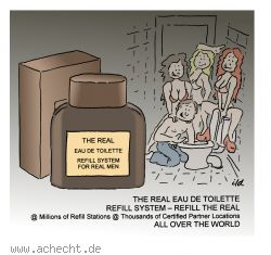 Cartoon: The Real - Parfum, Werbung, Mann, Frau, Eau-de-Toilette