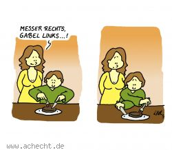 Cartoon: Messer rechts - Messer, Gabel, Essen, Kind, Familie, rechts, links, Besteck