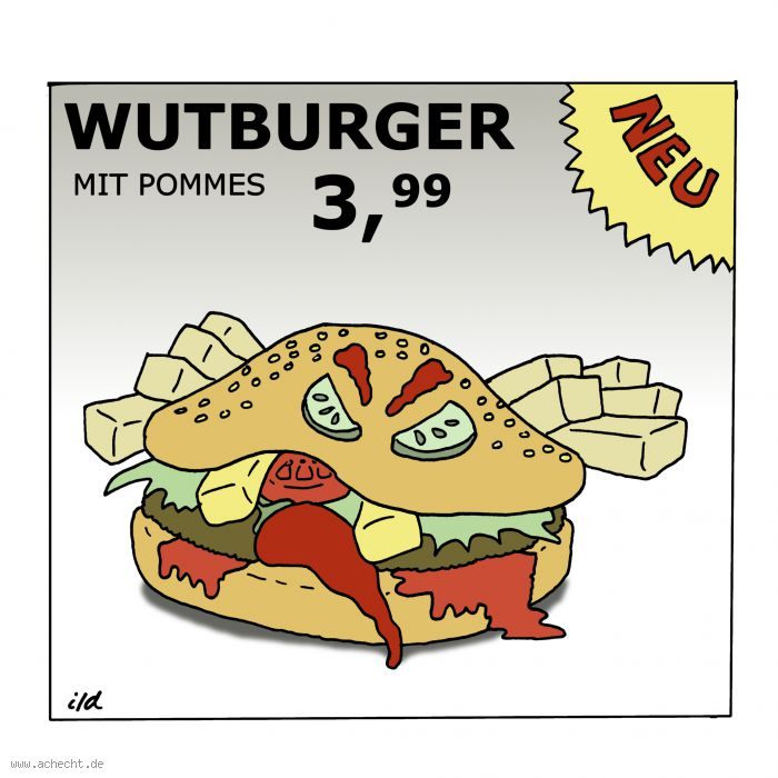 Cartoon: Wurburger - Wutbürger, Wut, Psychologie, Gastronomie, Hamburger, essen